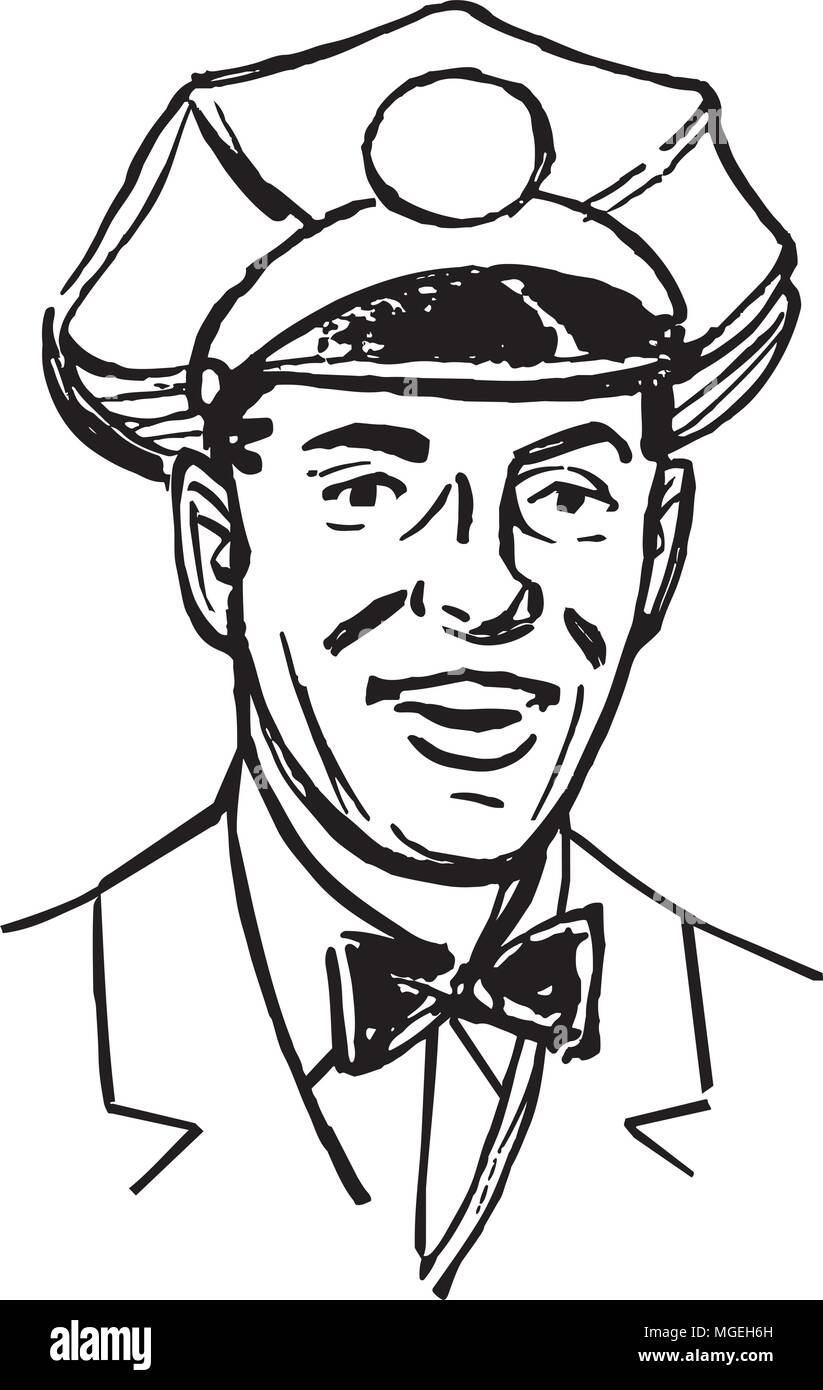 Service Man - Retro Clipart Illustration - Stock Image