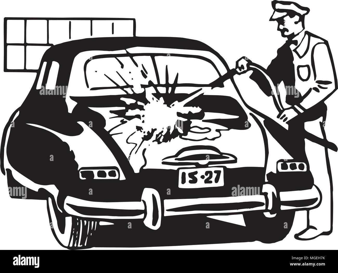 Serviceman Washing Car - Retro Clipart Illustration - Stock Vector
