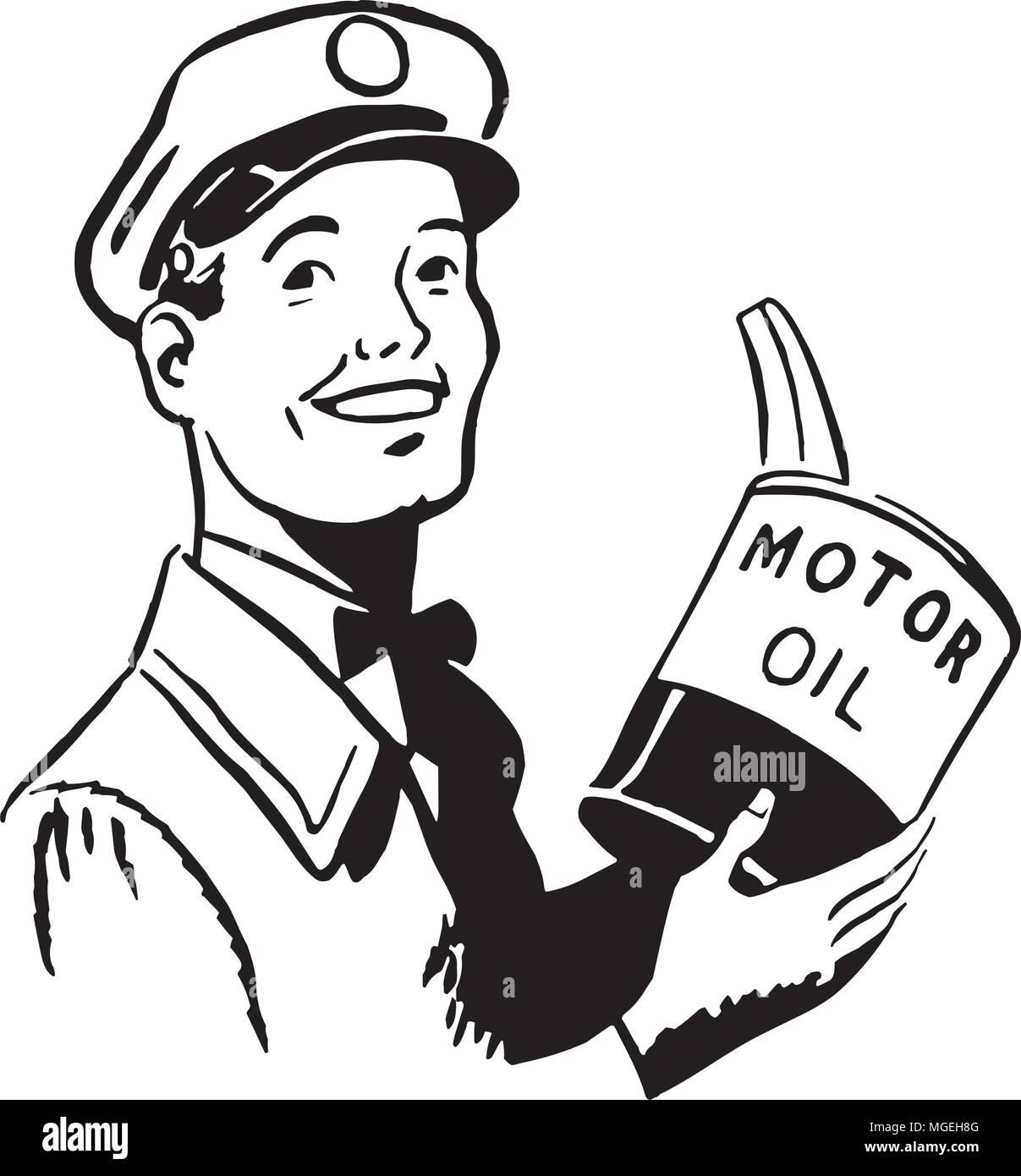 Serviceman With Motor Oil - Retro Clipart Illustration - Stock Vector