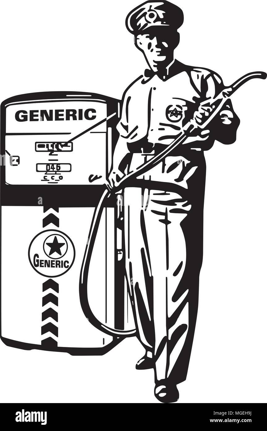 Service Station Man - Retro Clipart Illustration - Stock Image