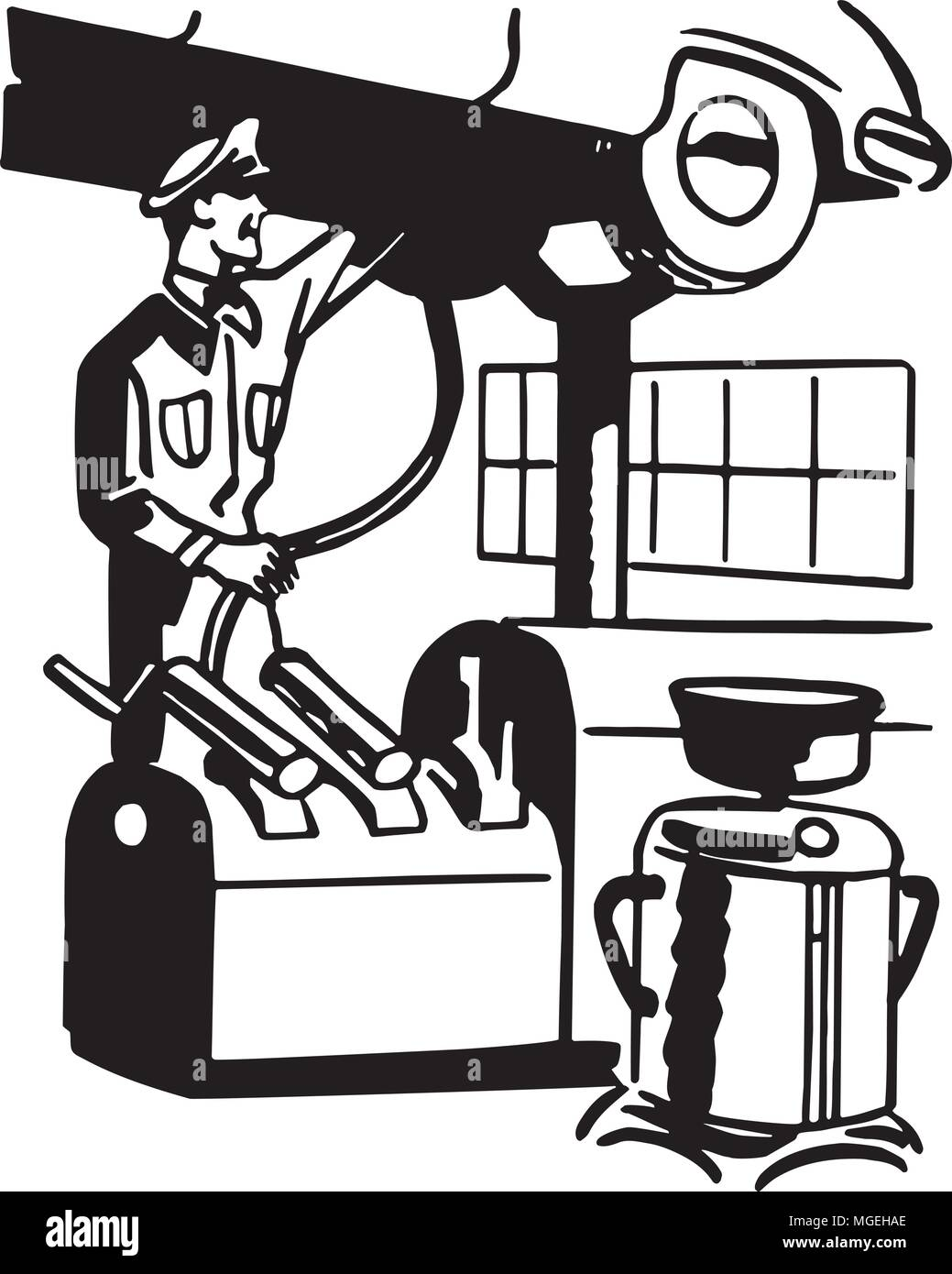 Servicing Car - Retro Clipart Illustration - Stock Vector
