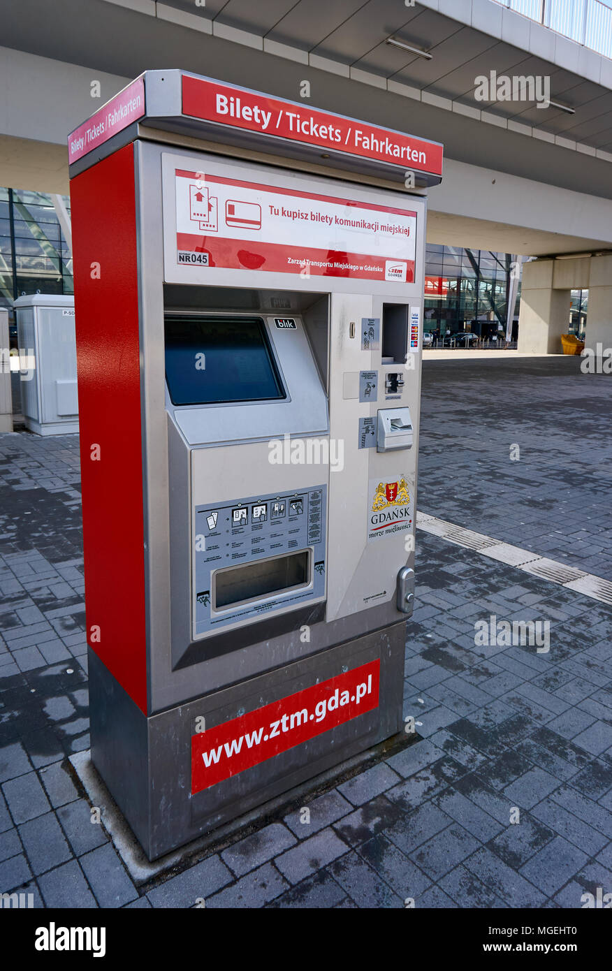 Wybitny Ticket machine for public transport in Gdansk, Poland Stock Photo UP56