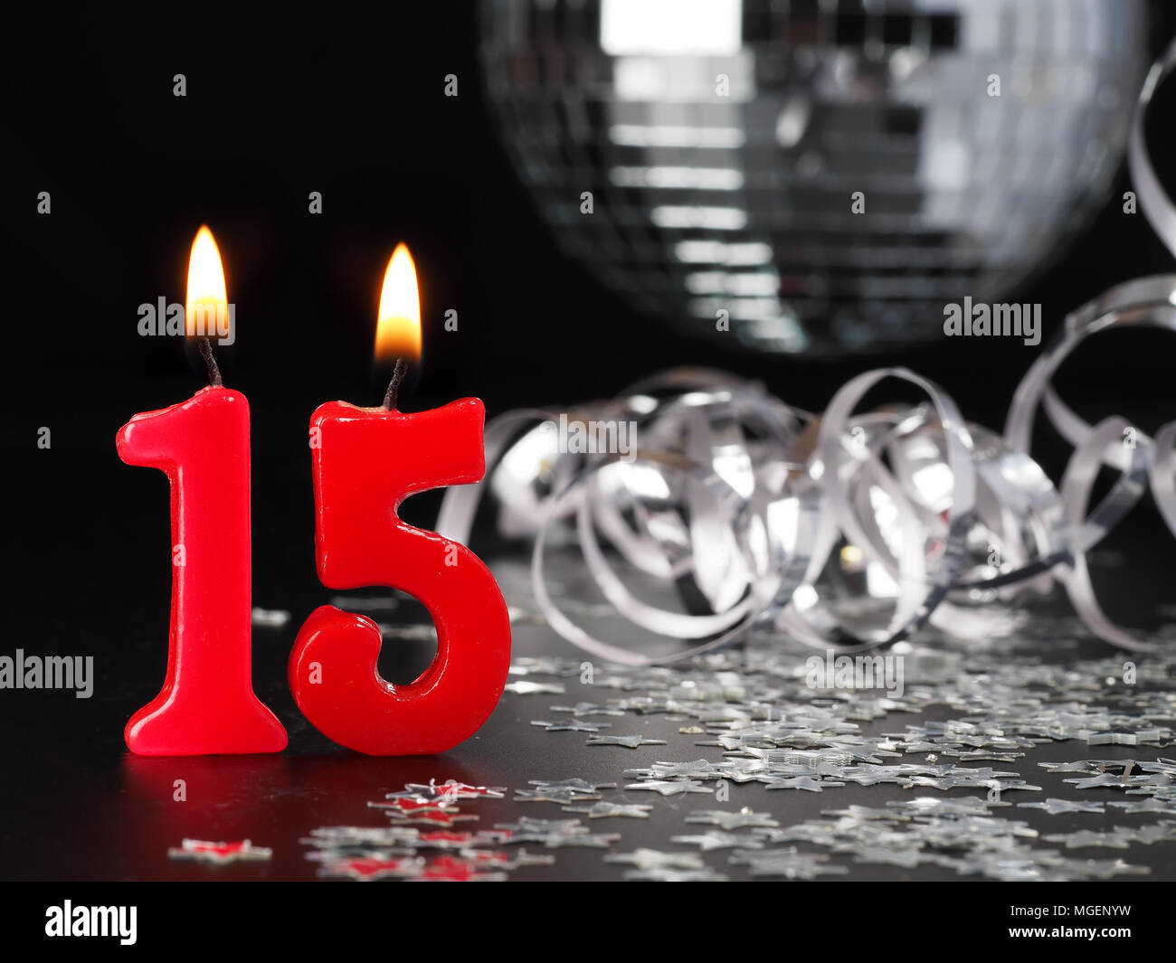 Red Candles Showing Nr 15 Abstract Background For Birthday Or Anniversary Party