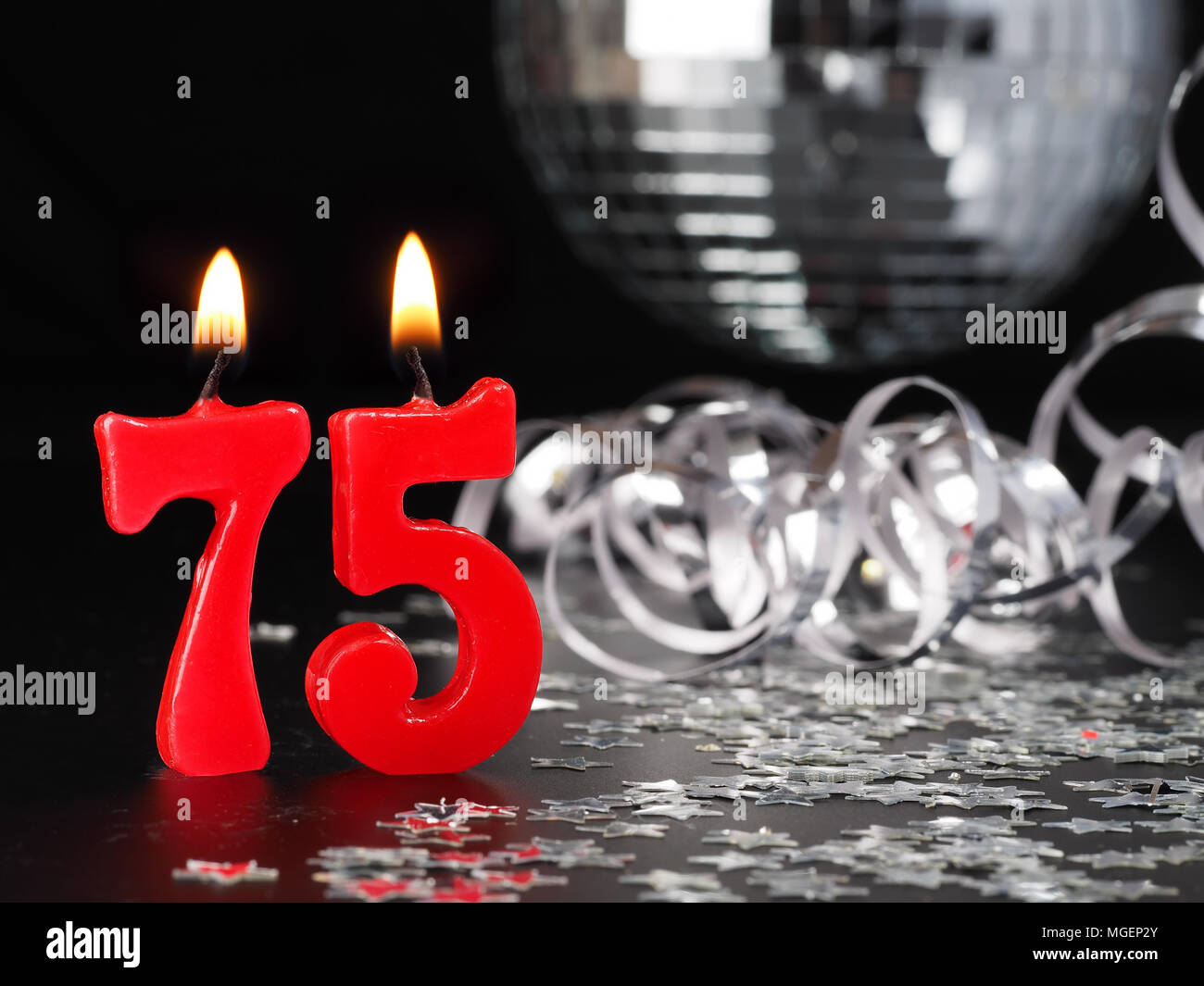 Red Candles Showing Nr 75 Abstract Background For Birthday Or Anniversary Party