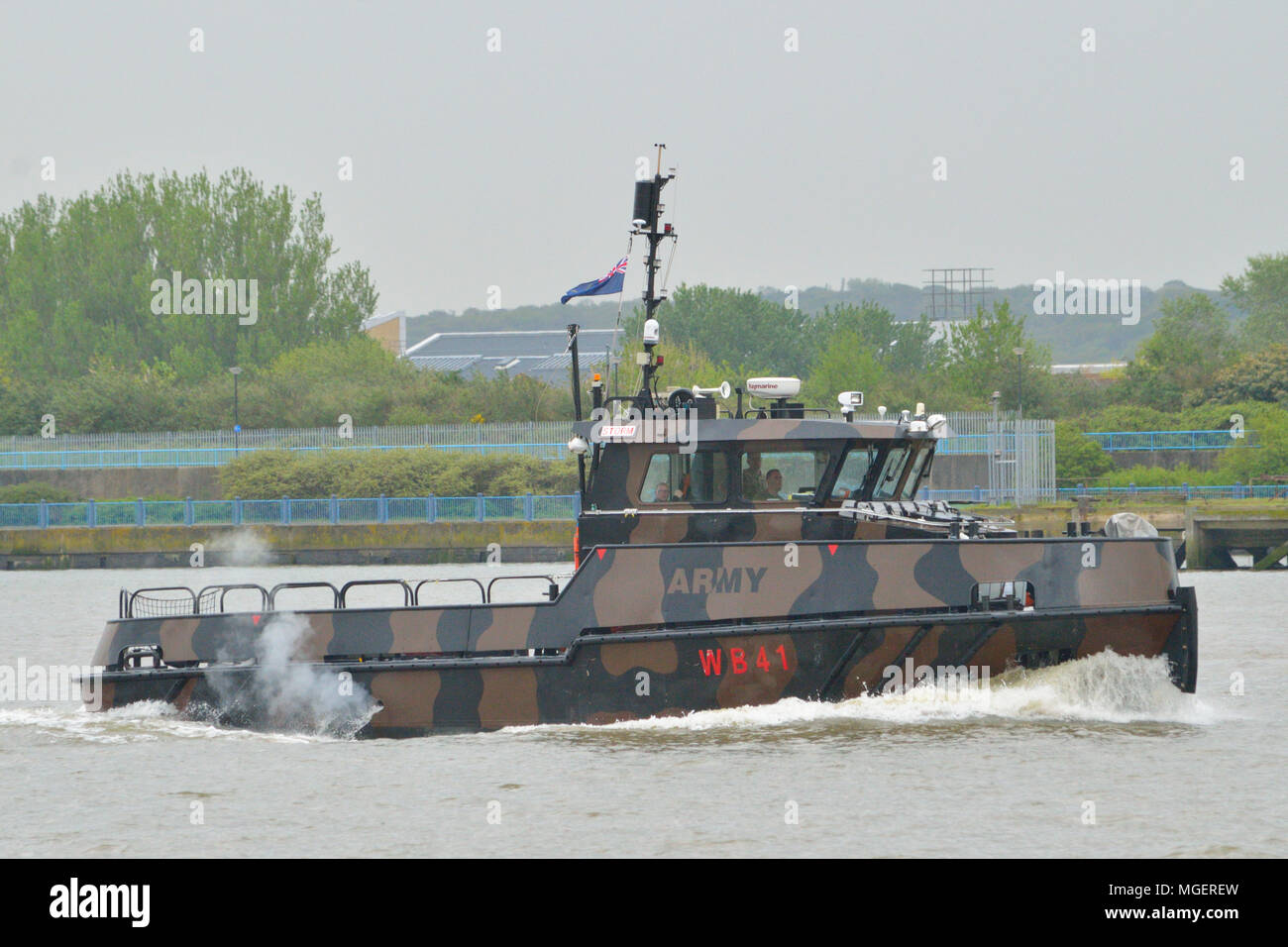 British Army workboat on River Thames in London - Stock Image