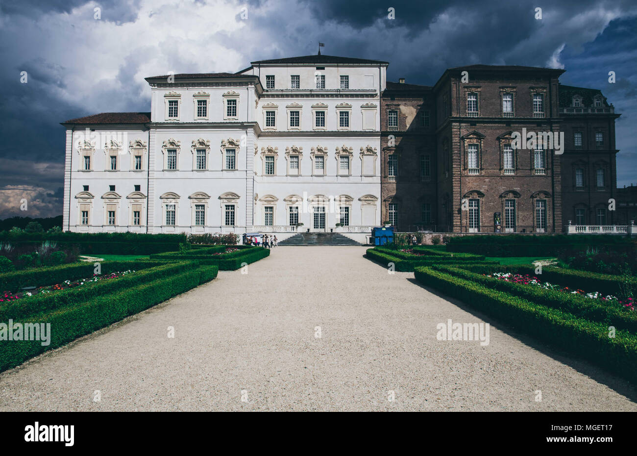 A View of the Palace Reggia of Venaria, near Turin, home of Italian kings in the 19th century and of its royal gardens - Stock Image