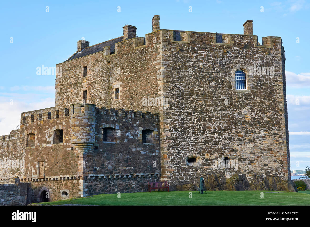 The North Tower of Blackness Fort, situated on the south bank of the Firth of Forth, near Edinburgh in Scotland. - Stock Image