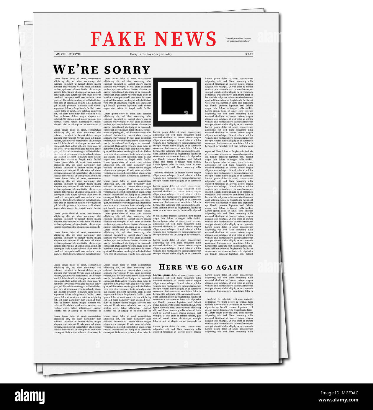 Fake News Newspaper Illustration. Flat Design of Newspaper with Fake News Headline and fake picture. - Stock Image