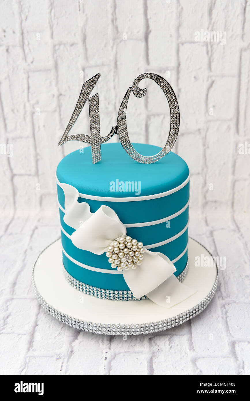 Pleasant 40Th Birthday Celebration Cake Stock Photo 182270600 Alamy Funny Birthday Cards Online Elaedamsfinfo