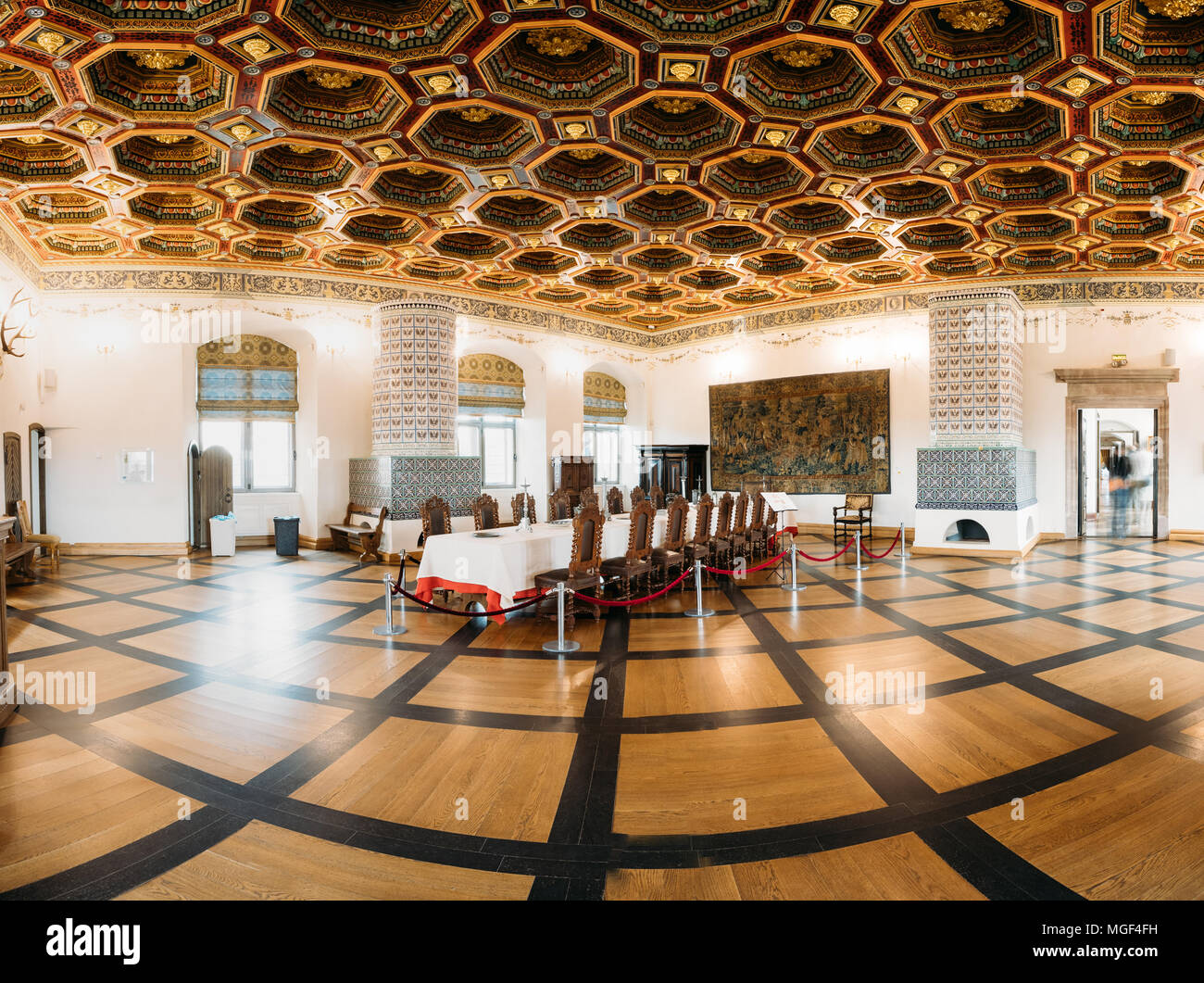 Mir, Belarus - September 1, 2016: Exposition The Dining Room Izba In Castle Complex Museum. Famous Landmark, Architectural Ensemble Of Feudalism, Anci - Stock Image