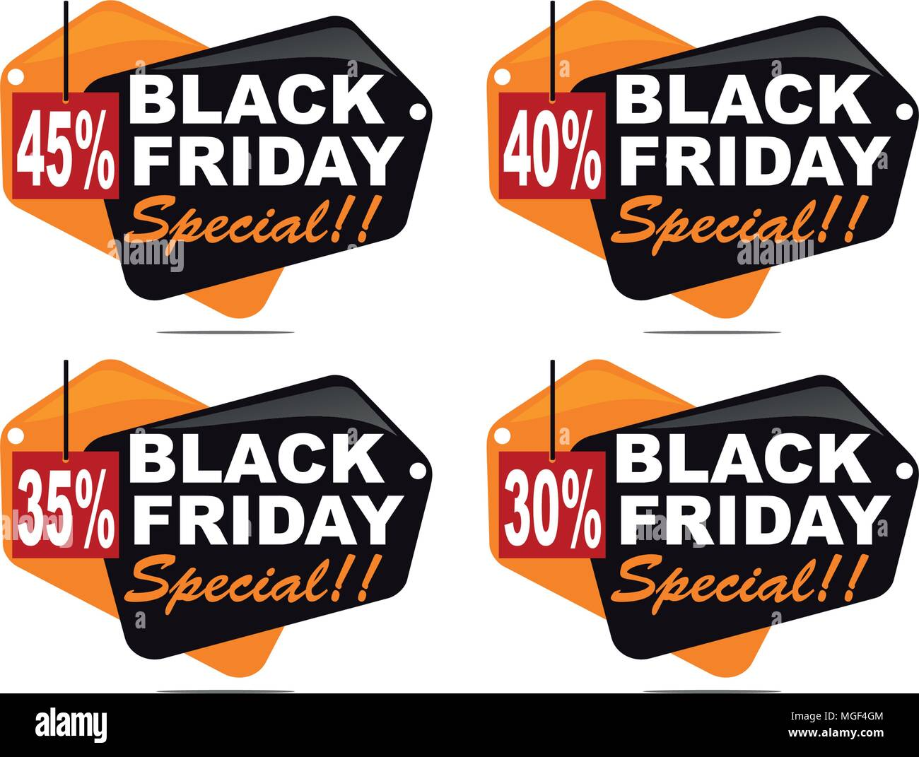 Black Friday Discount Template Set - Stock Vector