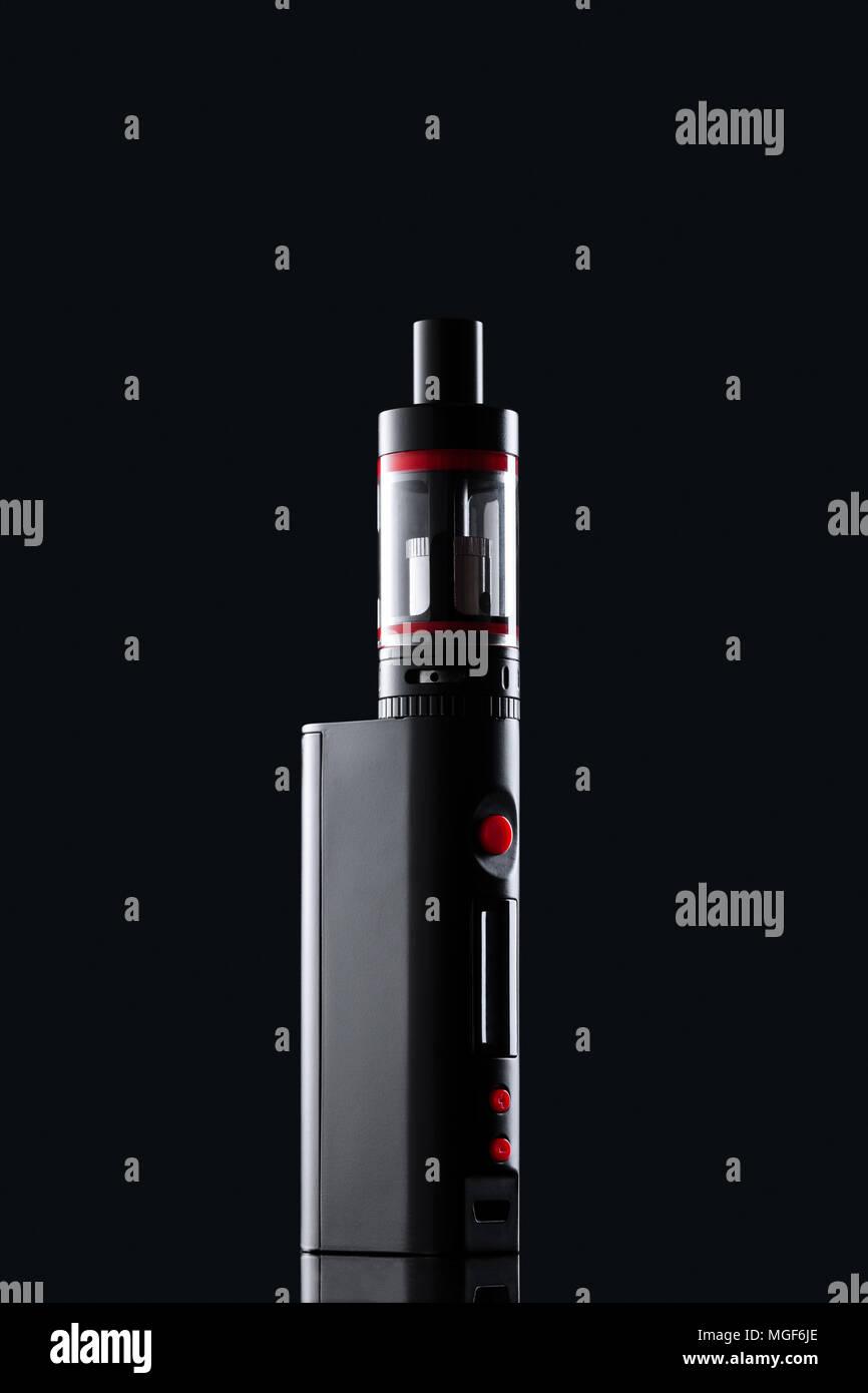 electronic cigarette on black background - Stock Image
