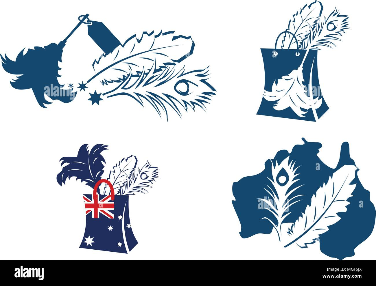 Australian Dusted Feather Super Store Set - Stock Vector