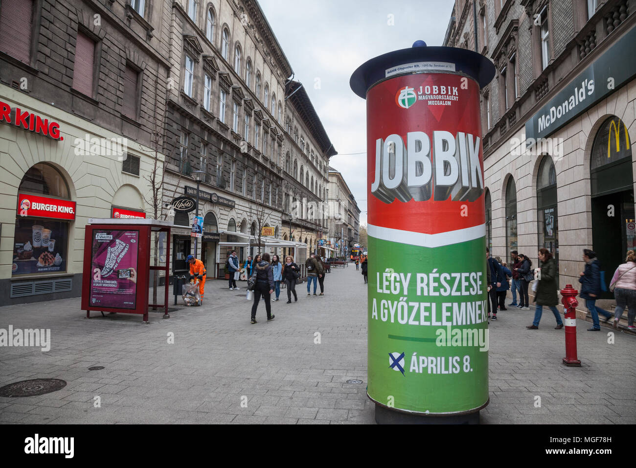 BUDAPEST, HUNGARY - APRIL 7, 2018: Jobbik electoral poster in the streets of Budapest for the parliamentary elections of 2018. Jobbik is the main extr - Stock Image