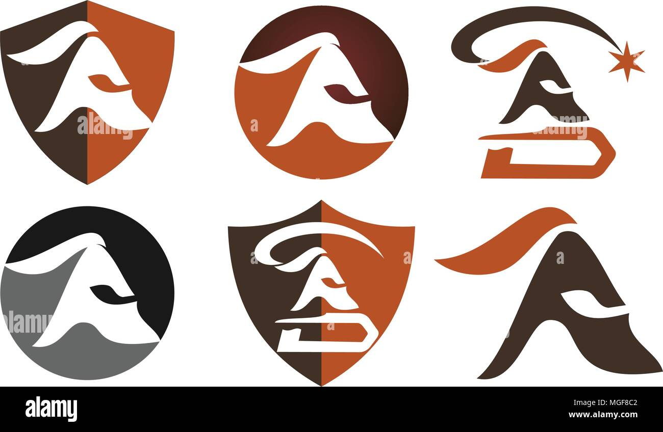 Spartan Helmet Template Set Stock Vector
