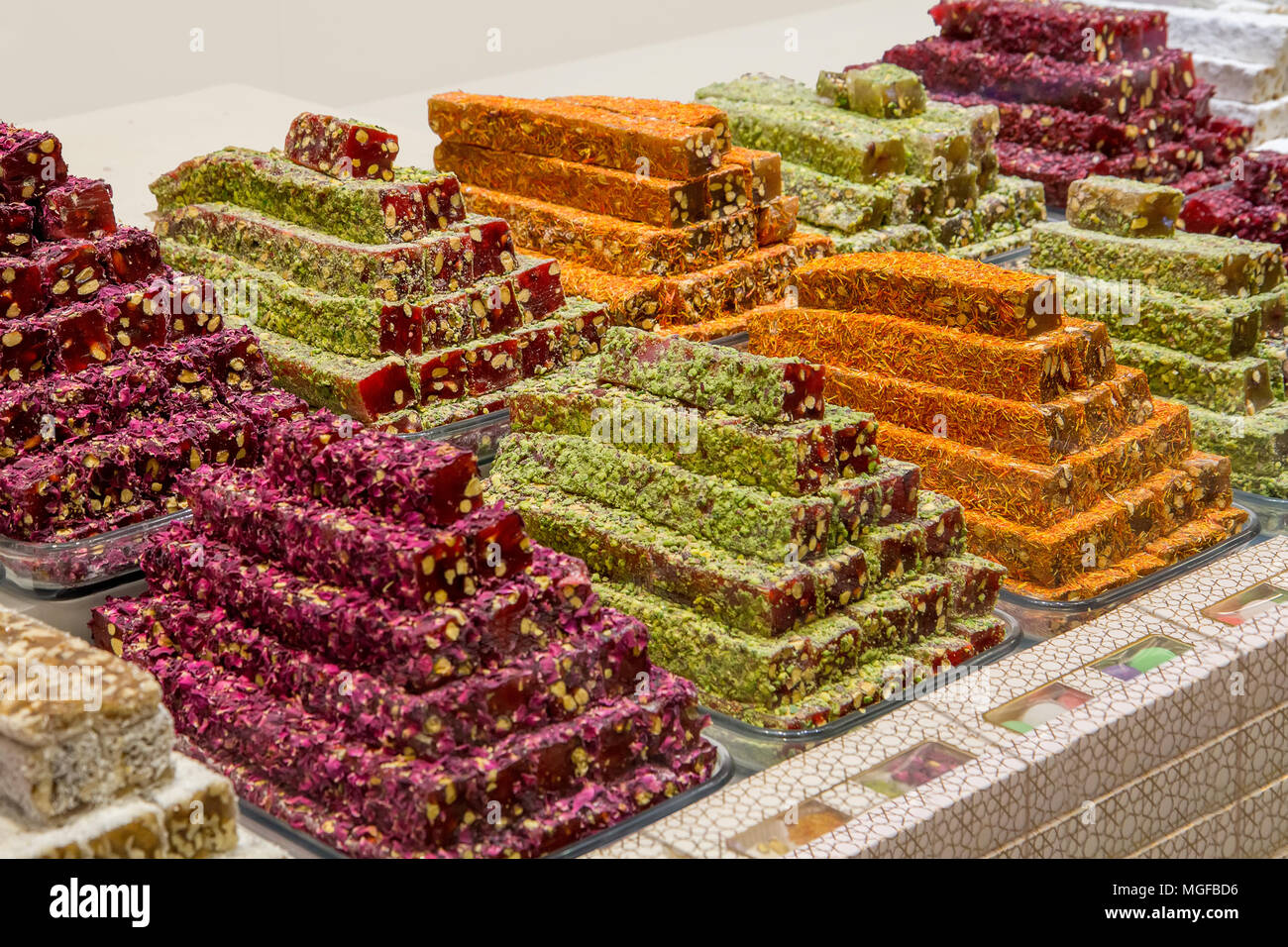 Turkish traditional sweets, rahat lukum in counter in the Grand Bazar market, Istanbul Stock Photo