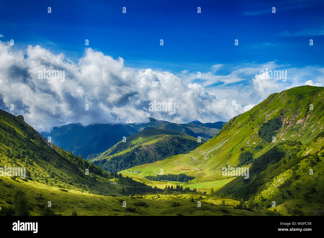 Beautyfull mountain landscape. Alps montains in Bagolino, province of Brescia, Italy. Stock Photo