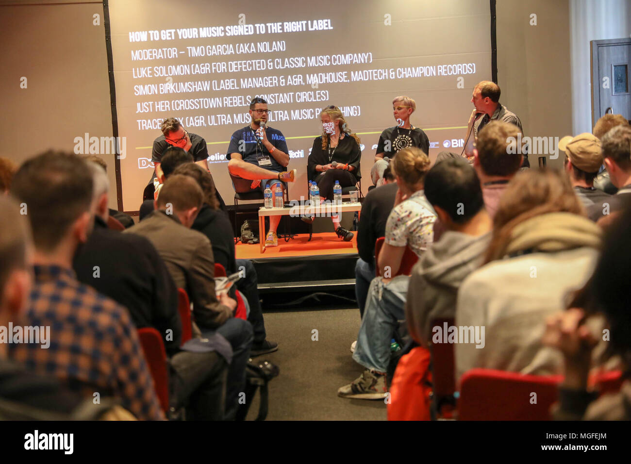 Brighton, UK,  26th April 2018.The UK's foremost electronic music conference returns for its 5th year to Brighton Dome and various venues across the city from 25 - 28 April 2018.  How to get your music signed to the right label.  Moderator – Timo Garcia (aka Nolan); Luke Solomon (A&R for Defected & Classic Music Company); Simon Birkumshaw (Label Manager & A&R, Madhouse, Madtech & Champion Records); Just Her (Crosstown Rebels, Constant Circles); Tracey Fox (A&R, Ultra Music & Ultra Music Publishing) - Stock Image