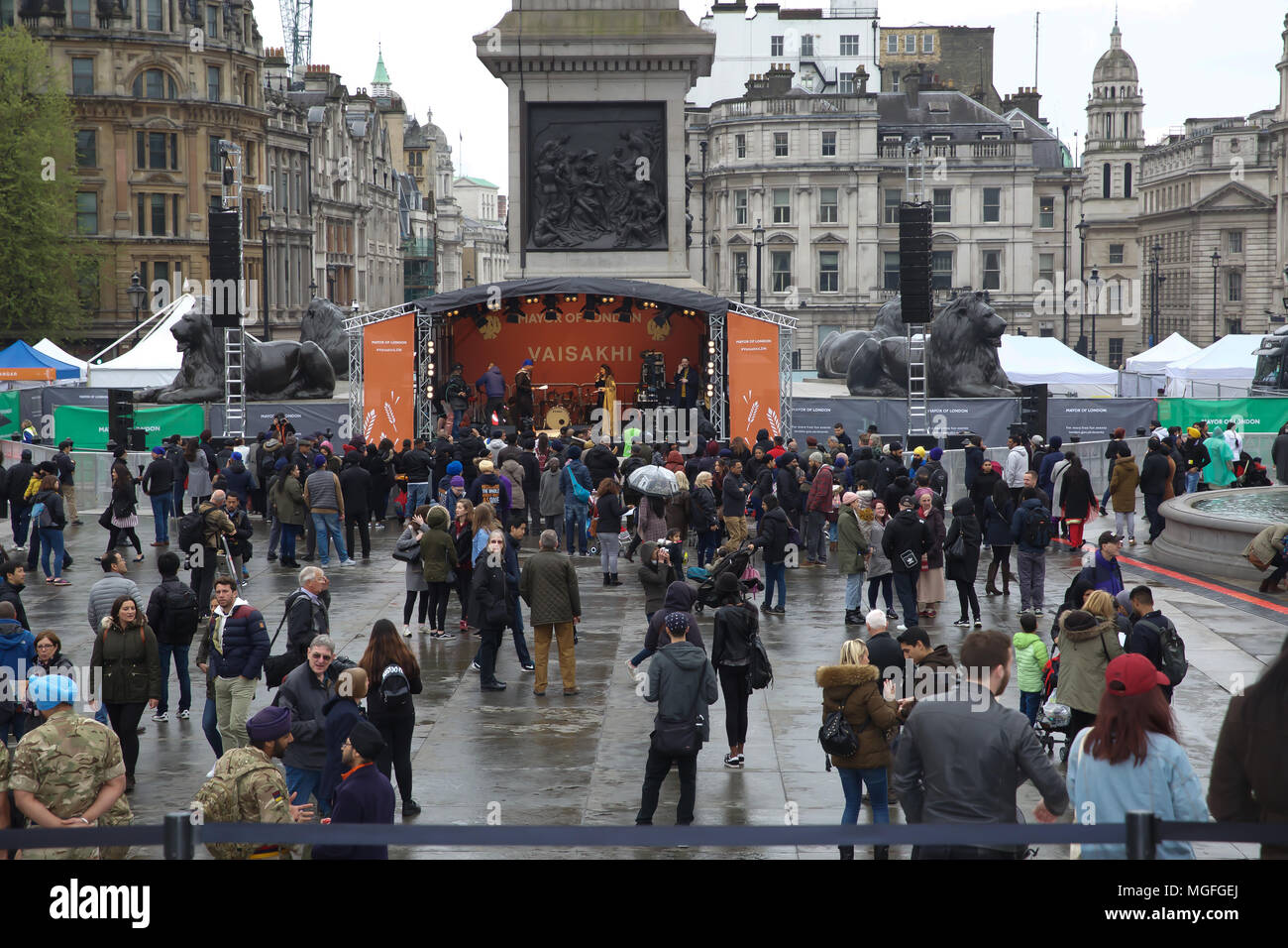 London,UK,28th April 2018,The Mayor of London, Sadiq Khan celebrates Vaisakhi in Trafalgar Square London. Vaisakhi festival is a celebration of Sikh and Punjabi tradition, heritage and culture, commemorating the birth of the Khalsa (the inner core of the Sikh faith) over 300 years ago. There are free live music performances on stage along with traditional food stalls and a army led obstacle course.Credit Keith Larby/Alamy Live News Stock Photo