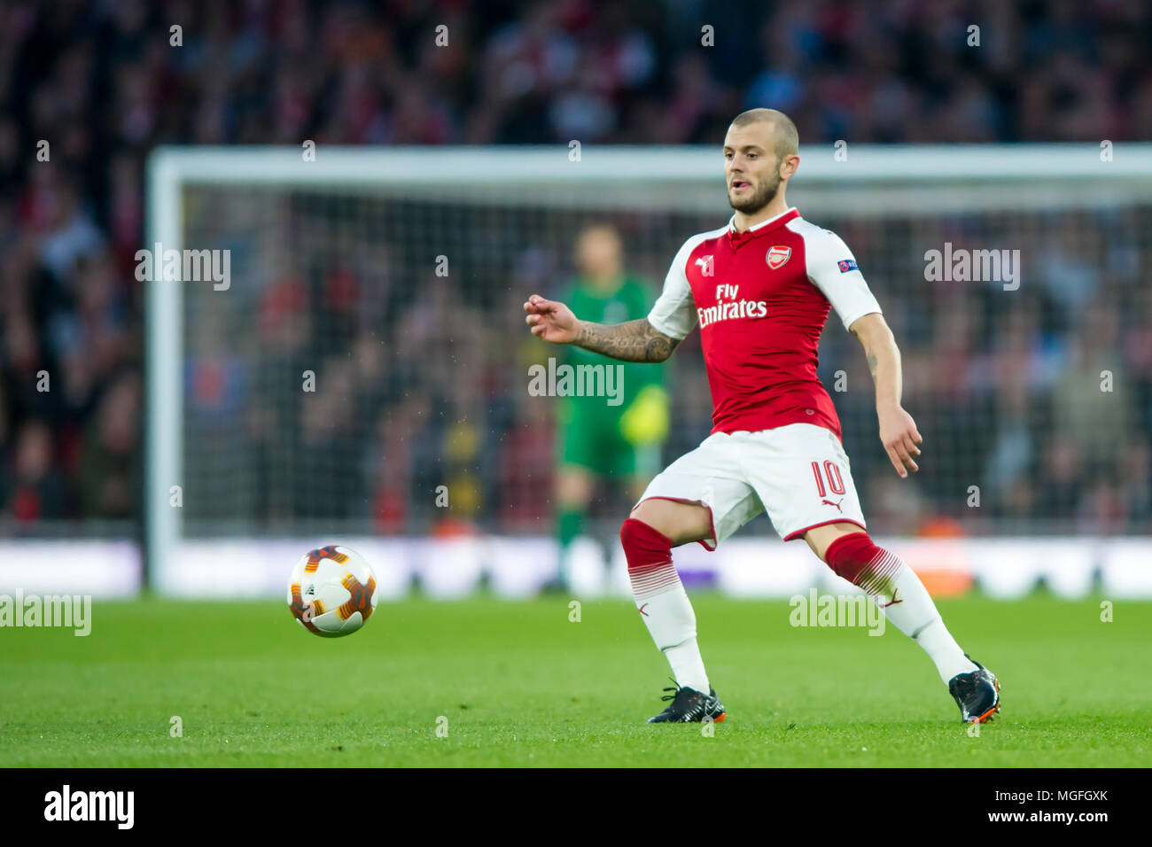 London, UK, 26 April 2018. Jack Wilshere of Arsenal during the UEFA Europa League Semi Final match between Arsenal and Atletico Madrid at the Emirates Stadium, London, England on 26 April 2018. Credit: THX Images/Alamy Live News - Stock Image