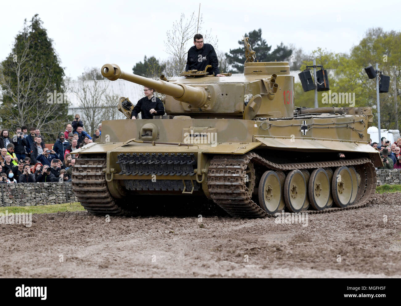 Tiger 131, world-famous Second World War tank, the only operating Tiger I in the world, takes to the parade ground at Bovington Tank Museum, Dorset. Credit: Finnbarr Webster/Alamy Live News - Stock Image