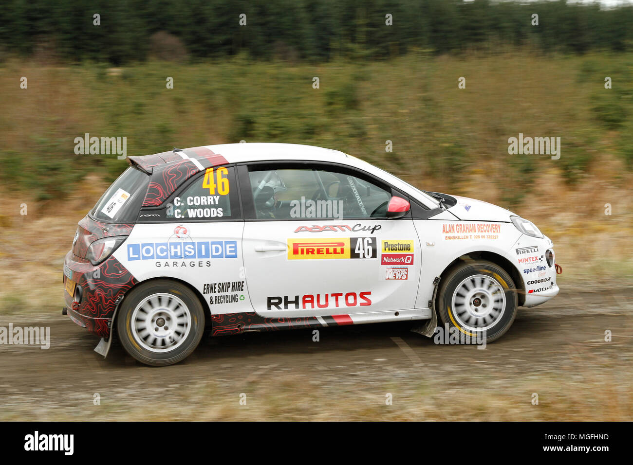 Kielder Forest, Northumberland, UK, 28 April 2018. Rally drivers compete in the Pirelli International Rally and second round of the Prestone British Rally Championship. (Special Stage 1 - Pundershaw 1). Andrew Cheal/Alamy Live News Stock Photo