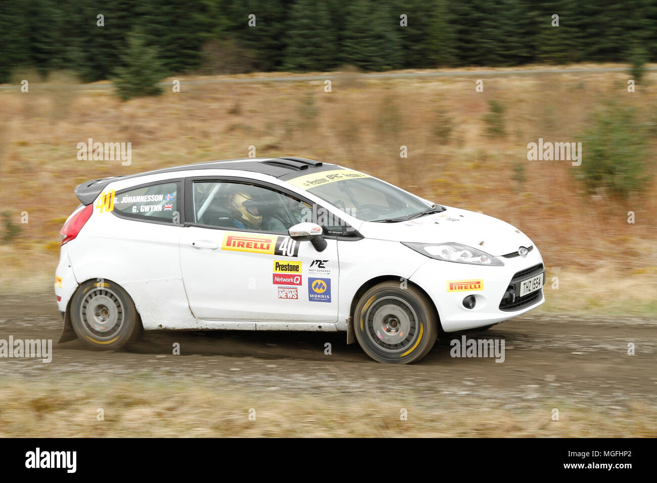 Kielder Forest, Northumberland, UK, 28 April 2018. Rally drivers compete in the Pirelli International Rally and second round of the Prestone British Rally Championship. (Special Stage 1 - Pundershaw 1). Andrew Cheal/Alamy Live News - Stock Image