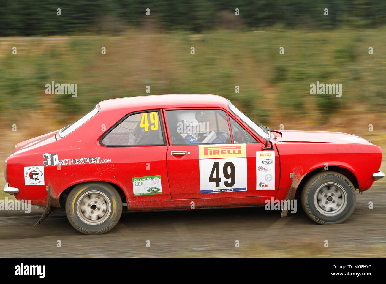 Kielder Forest, Northumberland, UK, 28 April 2018. Rally drivers compete in the Pirelli International Rally and the FUCHS Lubricant MSA British Historic Rally Championship. (Special Stage 1 - Pundershaw 1). Andrew Cheal/Alamy Live News - Stock Image