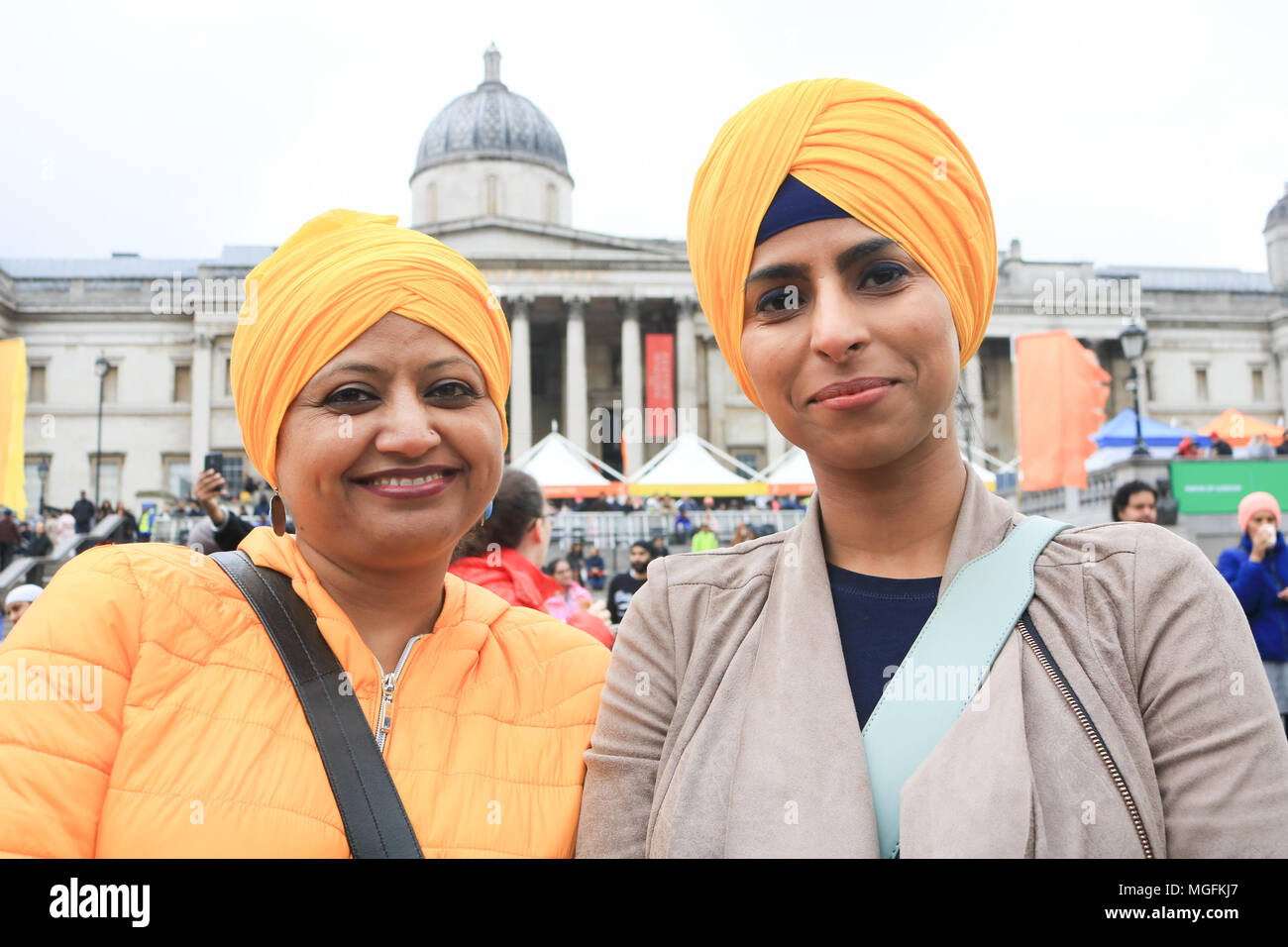 London UK. 28th April 2018. Punjabi women wearing turbans  attend the Vaisakhi festival in Trafalgar Square which is hosted by the Mayor of London as  a celebration of Sikh and Punjabi tradition, heritage and culture Credit: amer ghazzal/Alamy Live News Stock Photo