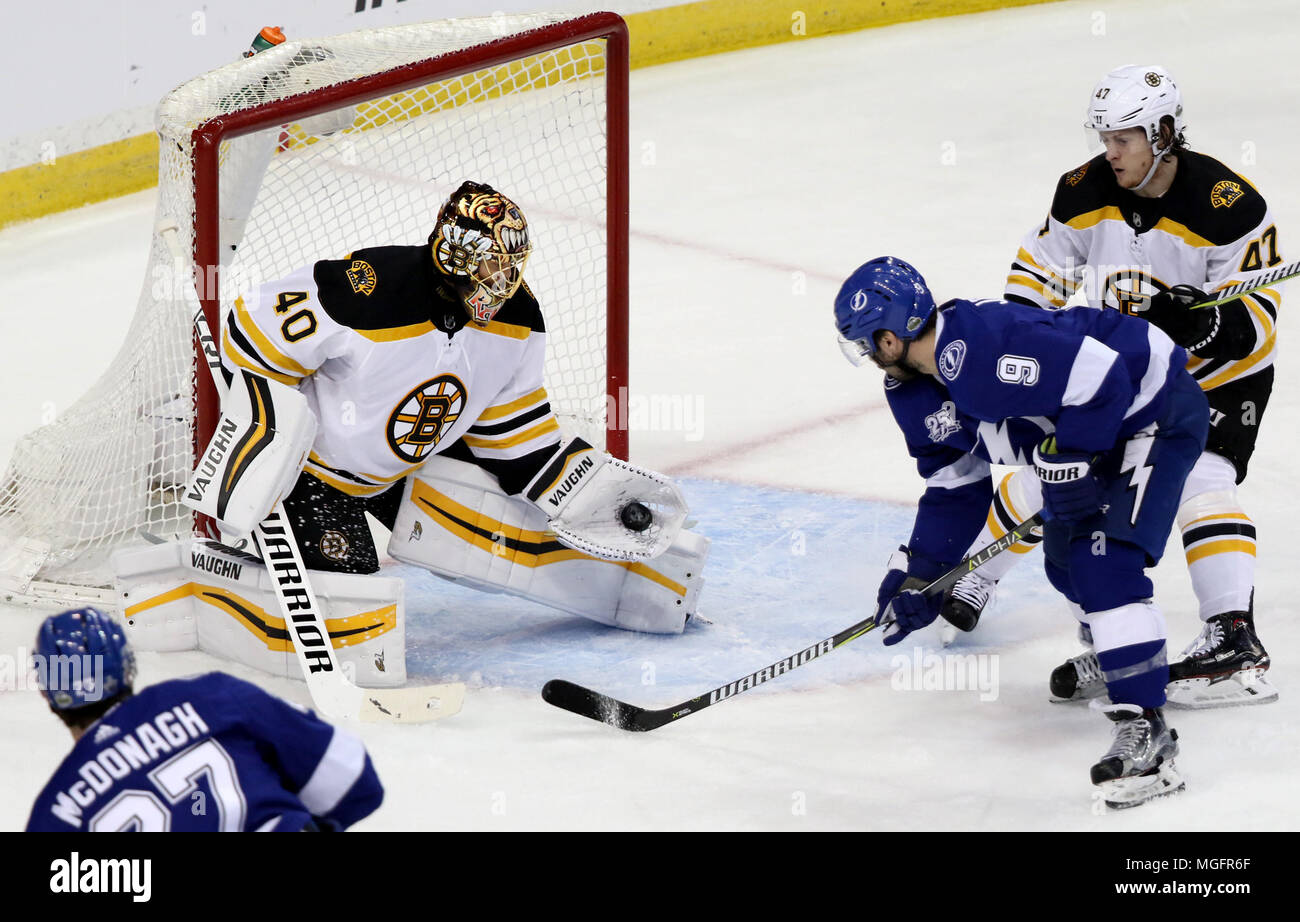 Tampa Florida Usa 28th Apr 2018 Douglas R Clifford Times Tampa Bay Lightning Defenseman Ryan Mcdonagh 27 Left And Tampa Bay Lightning Center Tyler Johnson 9 Challenge Boston Bruins Goaltender Tuukka Rask