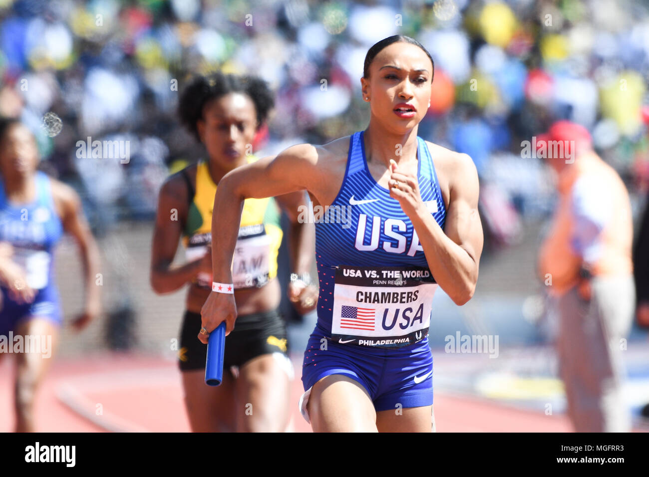 Philadelphia, Pennsylvania, USA. 28th Apr, 2018. KENDRA CHAMBERS of the USA in action during the USA vs The World Women 4x400 at the 124th running of the Penn Relays in Philadelphia Pennsylvania Credit: Ricky Fitchett/ZUMA Wire/Alamy Live News - Stock Image