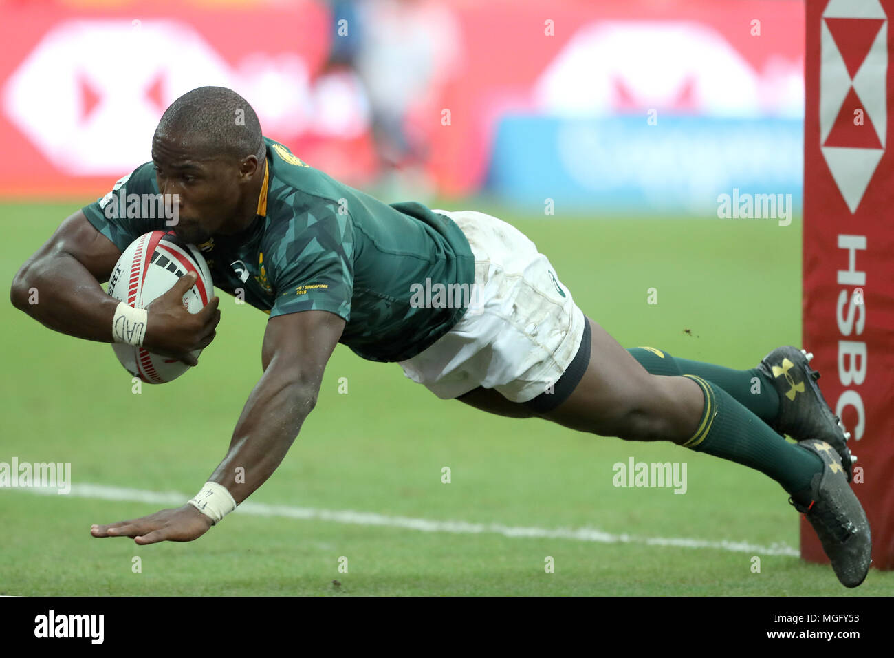 Singapore  29th Apr, 2018  Siviwe Soyizwapi of South Africa scores a