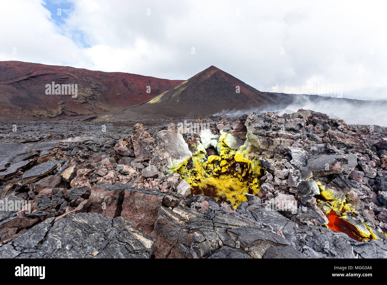 Active fumaroles near volcano Tolbachik, Kamchatka Peninsula, Russia - Stock Image