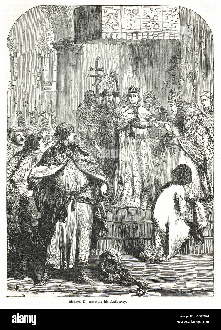 King Richard II of England, asserting his authority at the great council, May 1389, dismissing the Lords Appellant - Stock Image