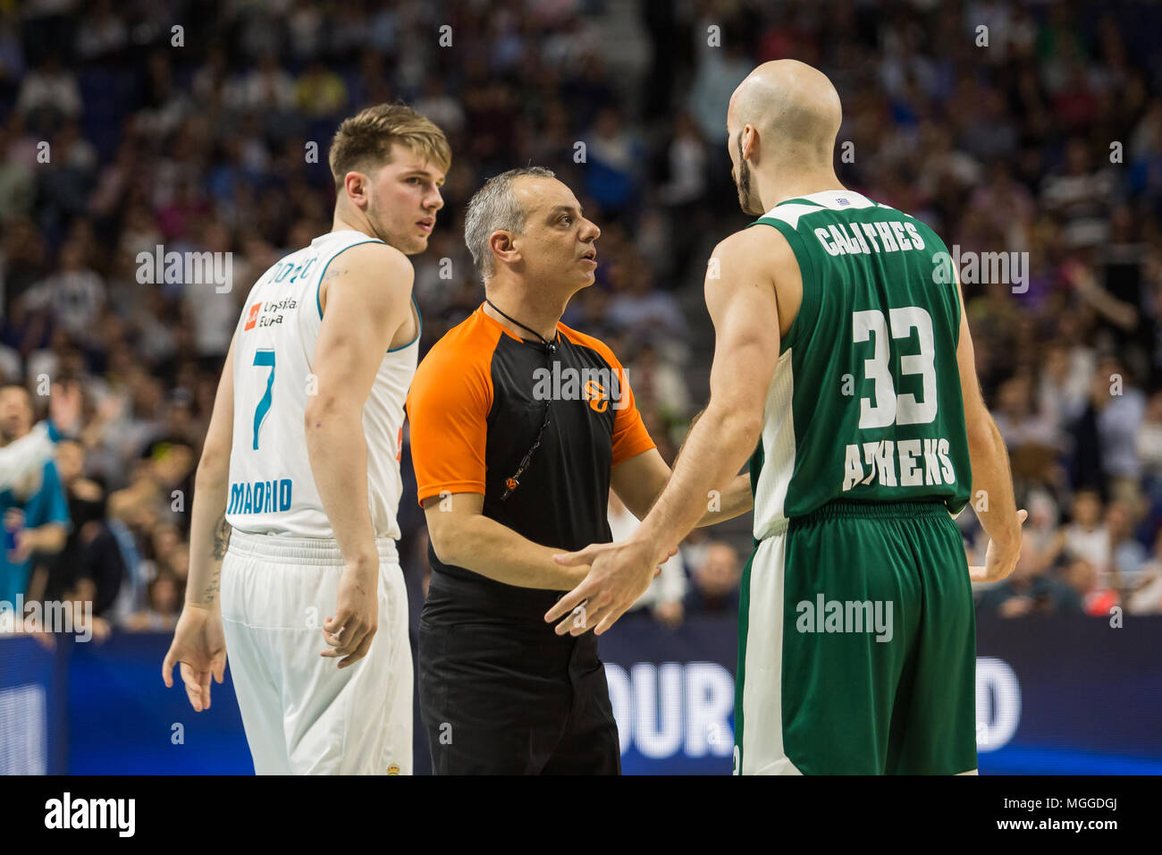 dde84d70572 Luka Doncic (L) and Nick Calathes (R) during Real Madrid victory over Panathinaikos  Athens (89 - 82) in Turkish Airlines Euroleague playoff series (game 4) ...
