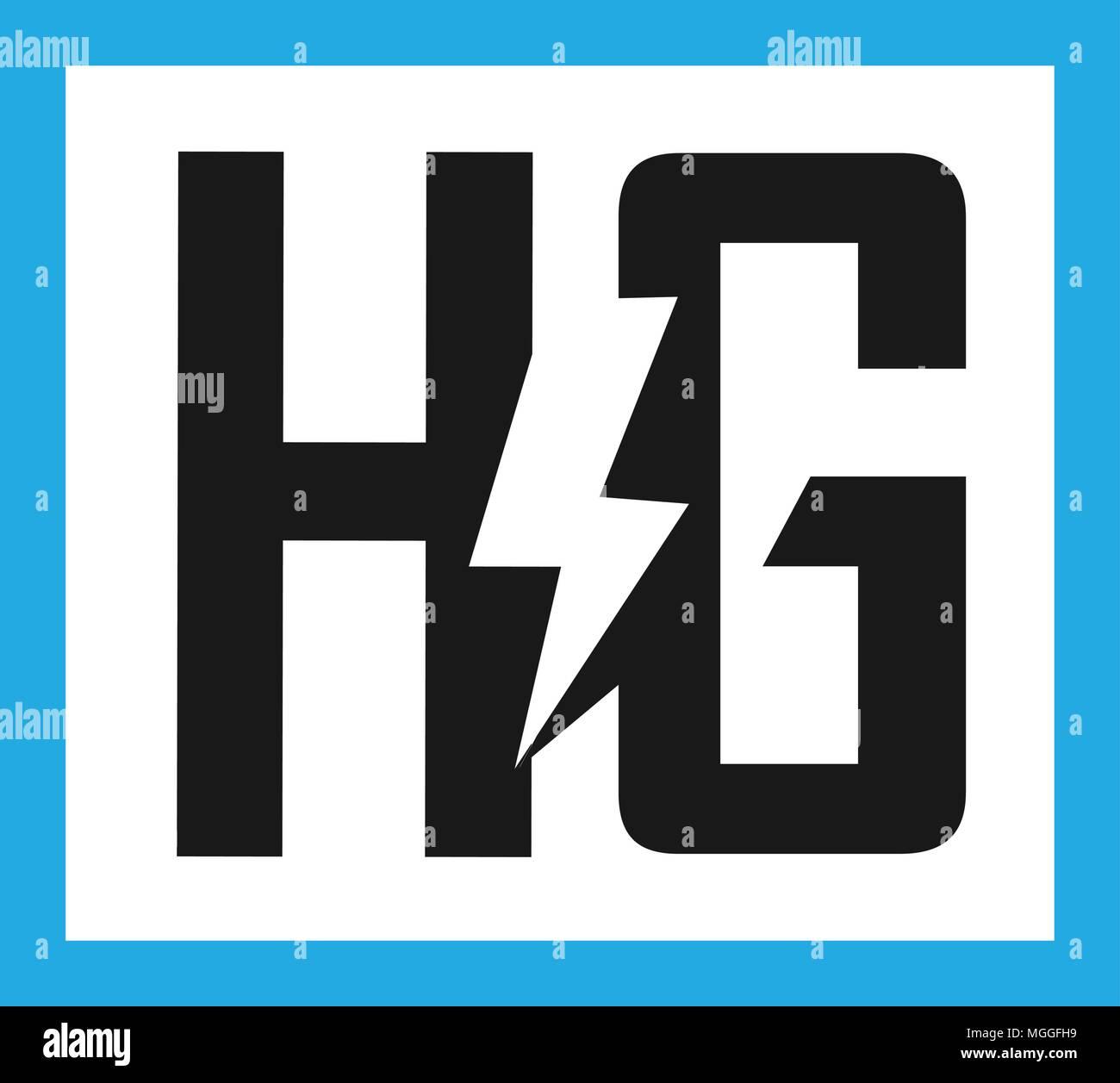 hg letter electric design vector illustration template h letter