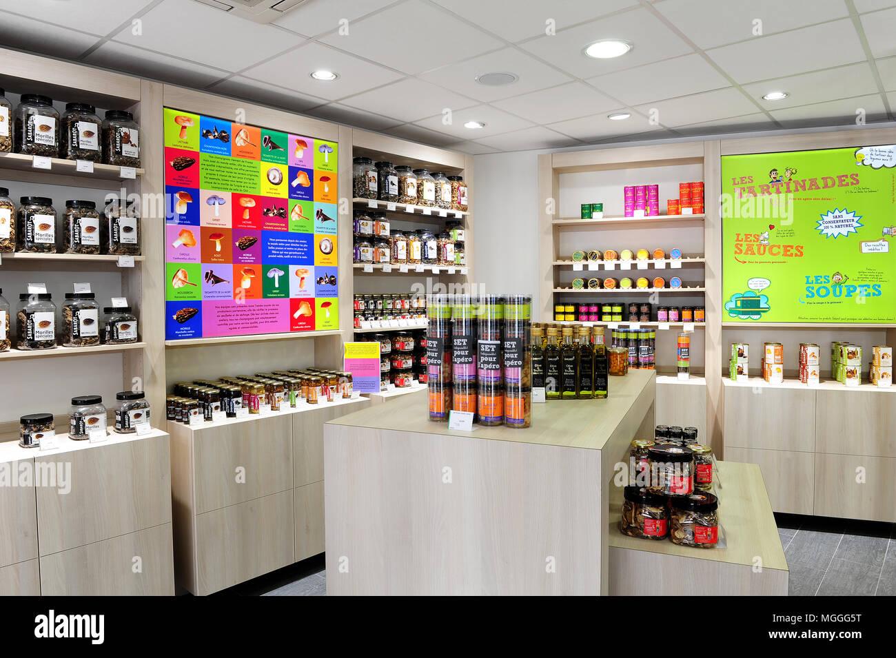 Sabarot gourmet food shop in Le-Puy-en-Velais, France - Stock Image