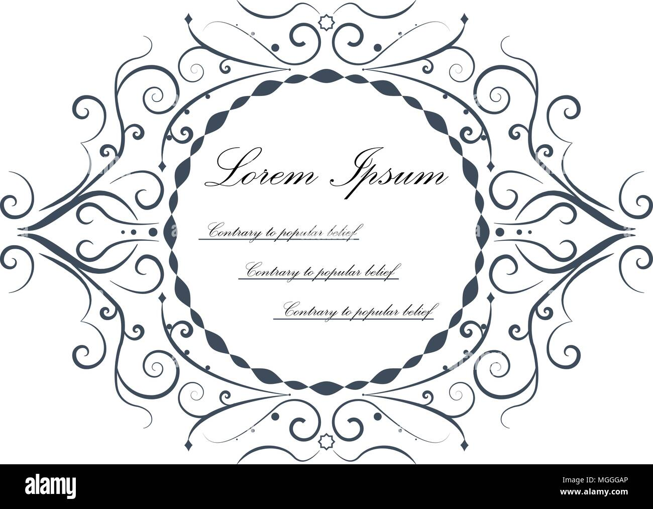 Ornamental Floral Frame With Sample Text Isolated On White