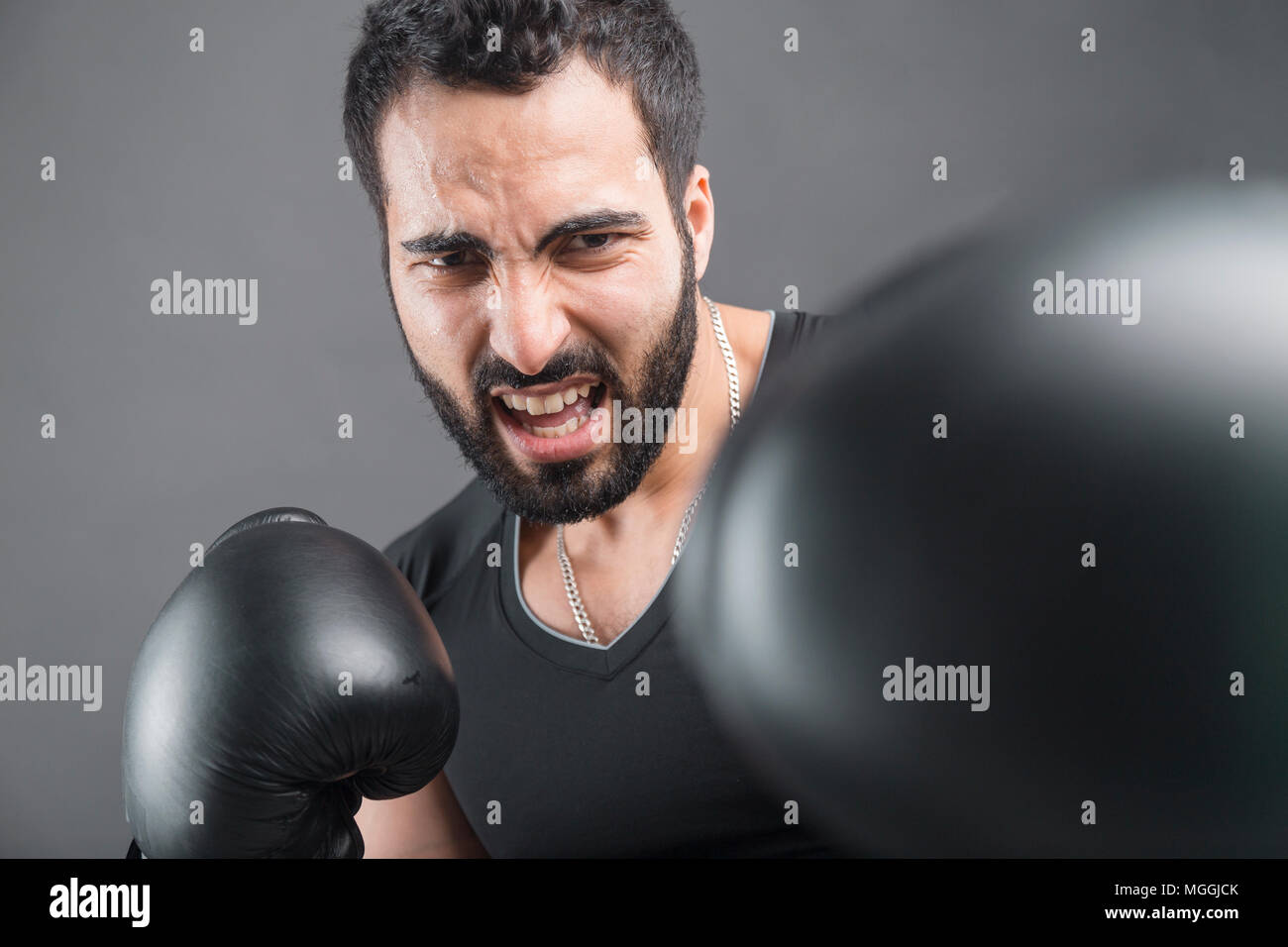 The Angry Boxer - Stock Image