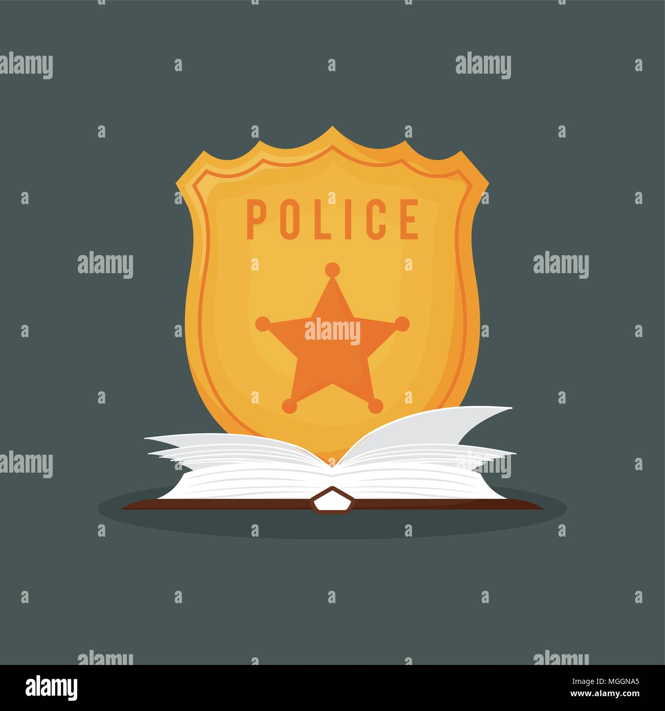 Police Badge And Book Over Green Background Colorful Design Vector