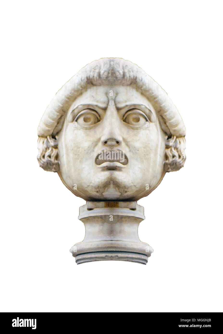 Antique sculpture man head with angry expression isolated photo - Stock Image
