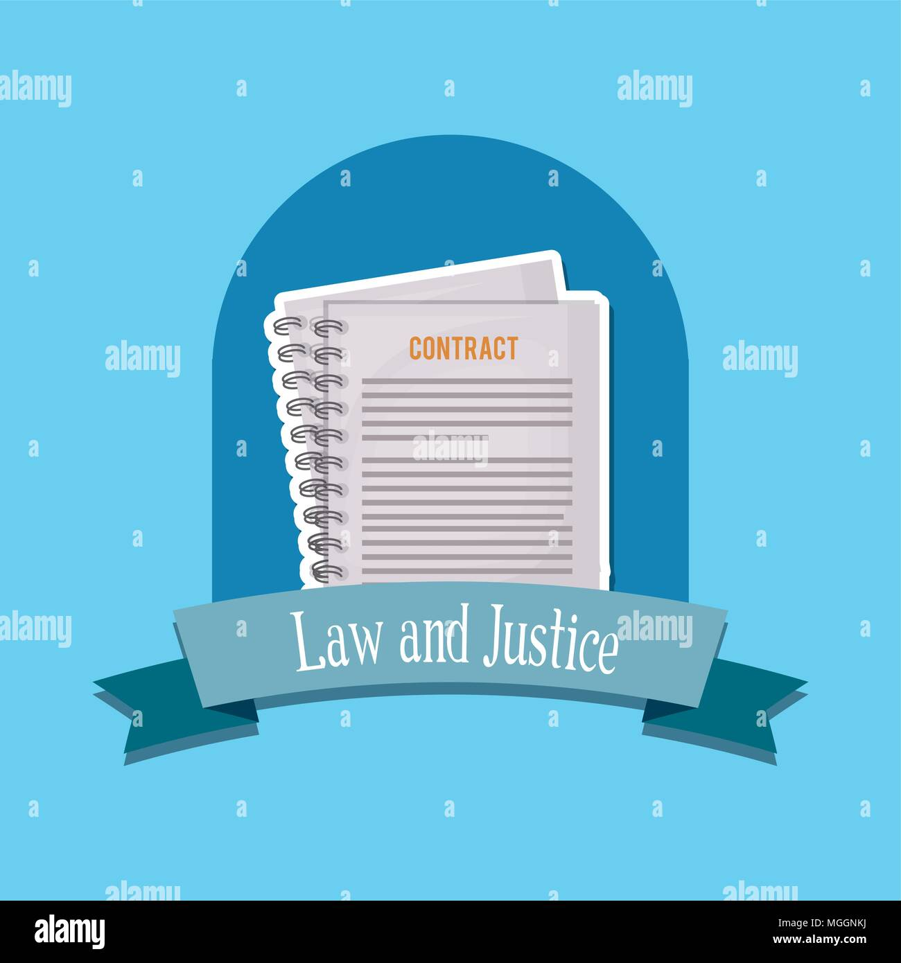 emblem of law and justice concept with contract documents over blue background, colorful design. vector illustraton - Stock Vector