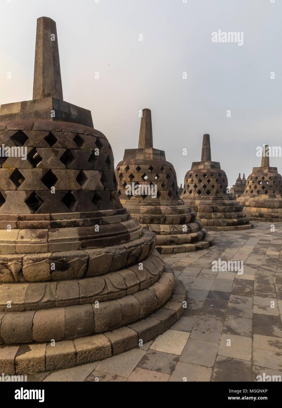 Stupas at Borobudur Buddhist Temple, Java, Indonesia - Stock Image