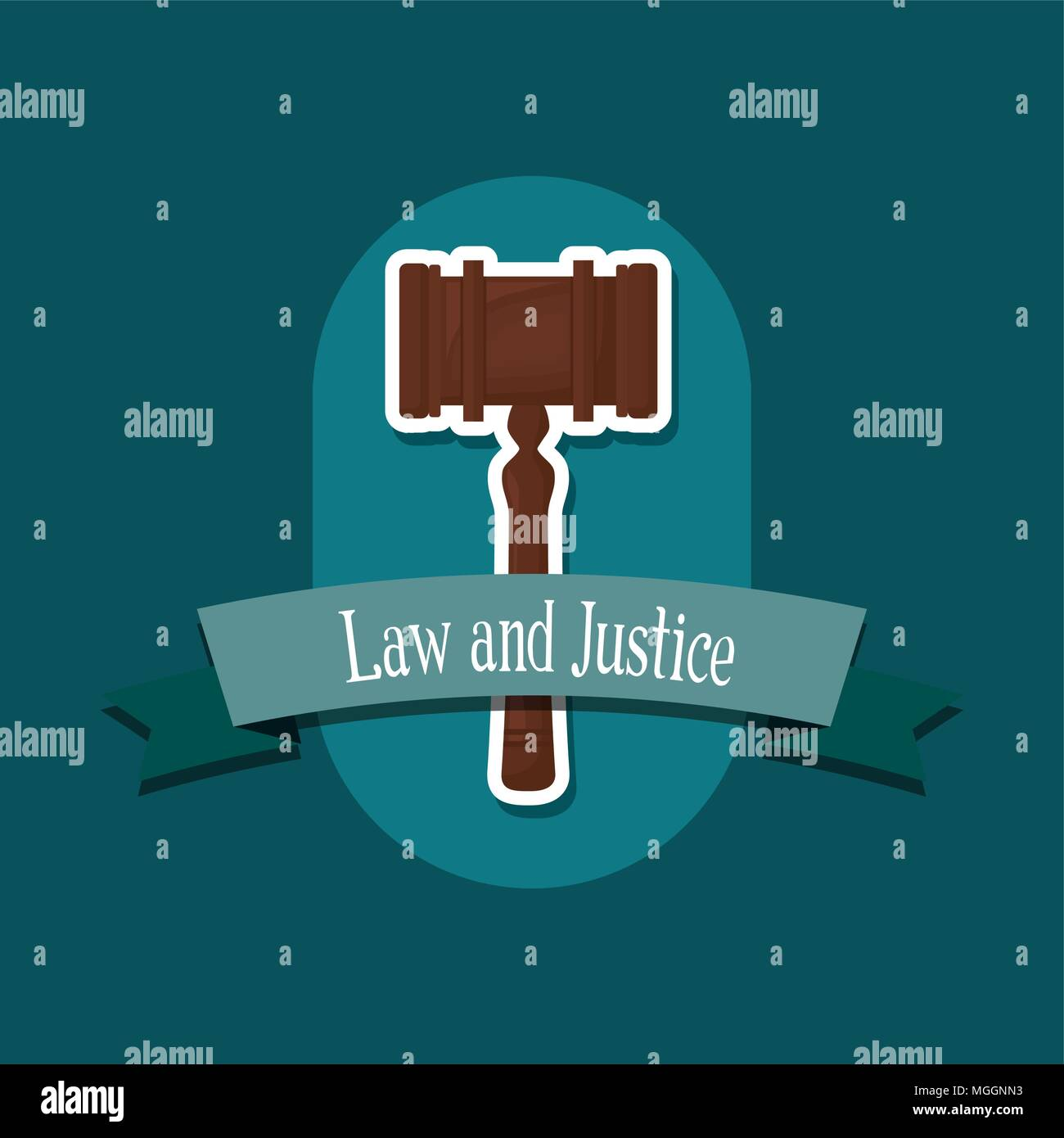 emblem of law and justice concept with gavel icon over blue background, colorful design. vector illustraton - Stock Vector