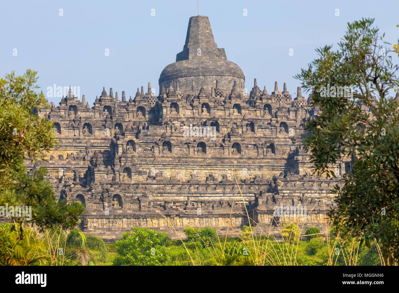 Borobudur Buddhist Temple, Java, Indonesia - Stock Image