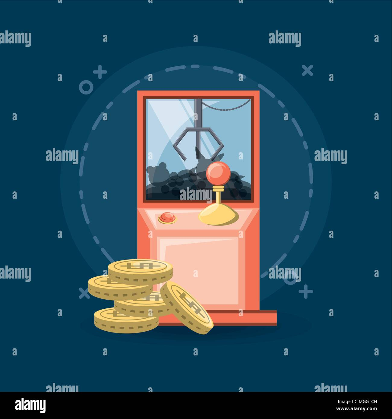 arcade claw machine and coins icon over blue background, colorful design. vector illustration - Stock Image
