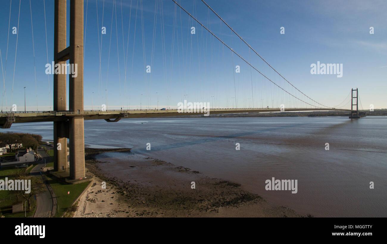 Humber bridge, single span suspension bridge over the river humber, Kingston upon Hull - Stock Image