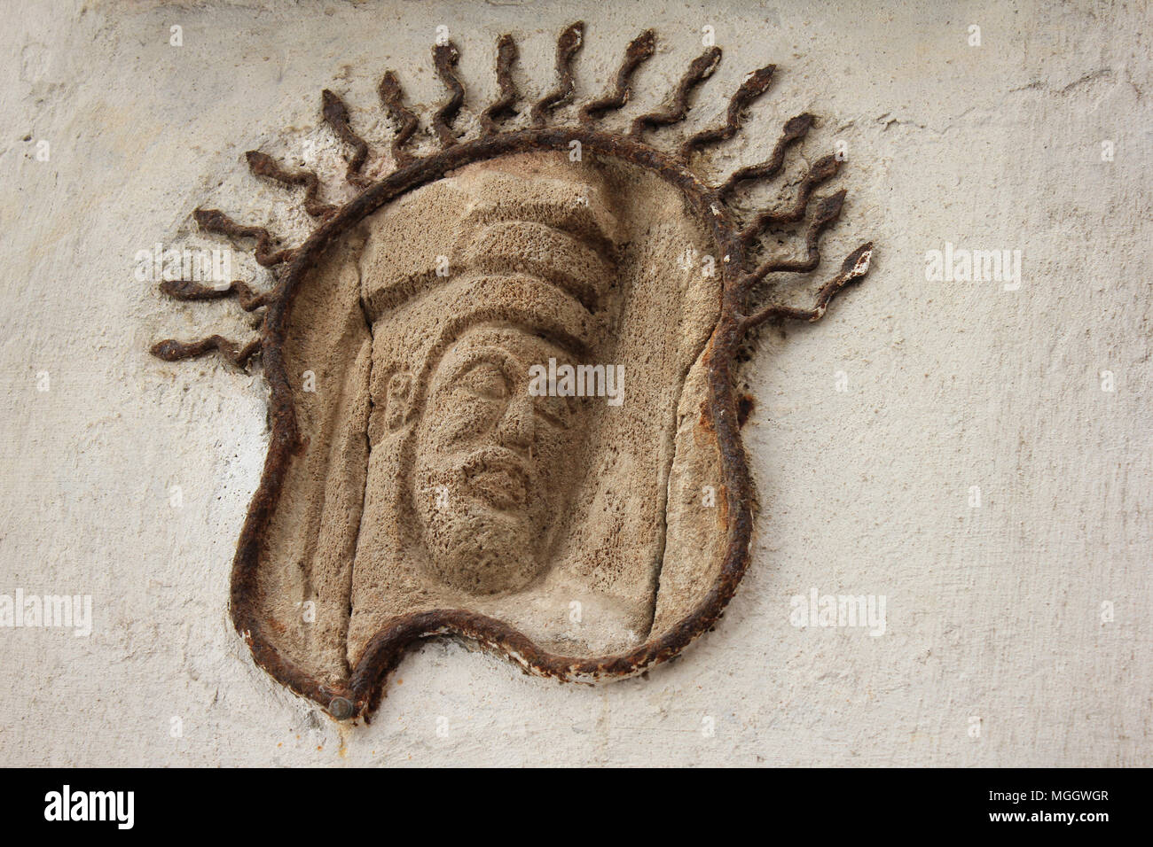 Carving On Moses, In Mellah, Jewish quarter, Essaouira, Morocco - Stock Image