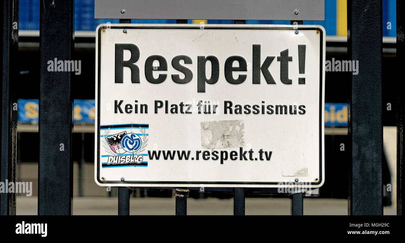 Braunschweig, Lower Saxony, Germany - April 15, 2018: Sign with the inscription 'Respekt! No room for racism' at the gate of a sports stadium - Stock Image
