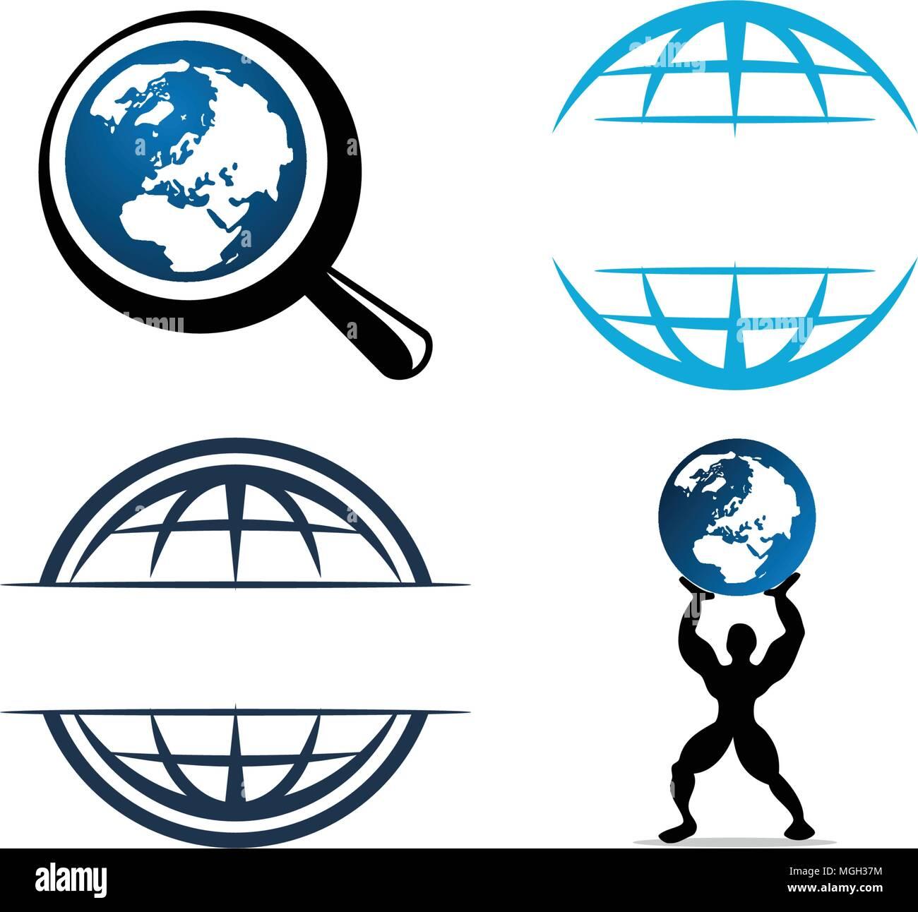 V Logo Template Set: World Globe Logo Design Template Set Stock Vector Art